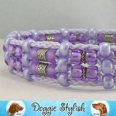 JAIME Purple Frost Beaded Dog Collar 16 by doggiestylish on Etsy, $30.00 Dog Jewelry, Animal Jewelry, Beaded Jewelry, Unique Dog Collars, Dog Collars & Leashes, Beaded Dog Collar, Collar And Leash, Dog Bedroom, Purple Jewelry