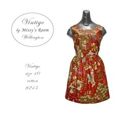 New dress, made by us in Wellington, from medium weight vintage cotton. Only one dress was made from this fabric.