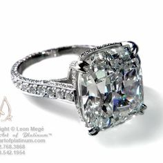 Leon Mege. A jewelry designer after my own heart... Cushion cut diamond, double claw prongs... Sigh....