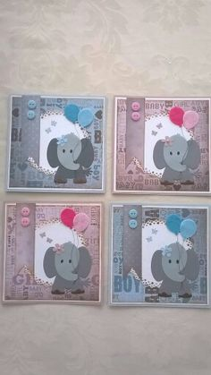olifantje Baby Shower Cards, Baby Shower Themes, Baby Shower Invitations, Baby Girl Cards, New Baby Cards, Marianne Design Cards, Elephant Theme, Kids Birthday Cards, Baby Crafts