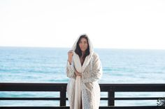 Lined with ivory channeled minky, our snow leopard hooded robe.   Everyday essentials for everyday luxury on sale now. Shop KVH by Kelly Van Halen. https://www.kellyvanhalen.com/