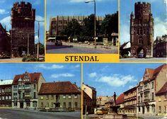 Cartão Postal de Stendal - Alemanha Tangermÿnder Tor, Breite Strabe, Uenglinger Tor, Sperlingsberg