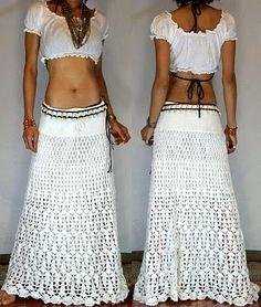 crochet skirt -- me encanta! no se si tendria la paciencia para hacer la falda hasta los pies,