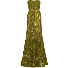 ELIE SAAB Frayed Sequin Gown ($4,627) ❤ liked on Polyvore featuring dresses, gowns, vestidos, long dresses, elie saab, women, strapless sequin dress, strapless dresses, brown dress and long sequin dress