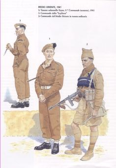 "British Commandos, Middle East, 1941 - 1. Colonel Keyes, 11 Commando (Scots), 1941 - 2. Commando ""Layforce"" - 3. Commando Middle East"