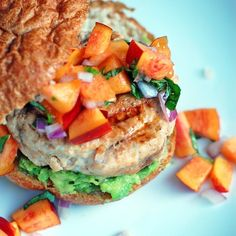 chipotle turkey burger with avocado and nectarine salsa. yum!