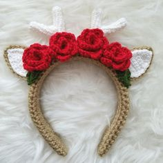 Adding red roses to my deer headband pattern and a couple of leaves will turn the simple deer into a Christmas reindeer perfect for coming holiday events! Check my Instagram for the leaf pattern I used.