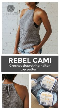 Make the Rebel Cami, a sassy but sweet drawstring halter top crochet pattern from TL Yarn Crafts. Challenge your crochet stills with unique shaping and textured stitches. Pattern available in 2 sizes with plenty of photo tutorials and a helpful chart. Moda Crochet, Pull Crochet, Easy Crochet, Crochet Stitches, Free Crochet, Crotchet, Cotton Crochet Patterns, Knitting Patterns, Knitting Tutorials