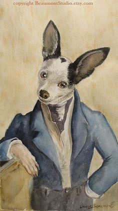 Watercolor Pet Portrait Costume or Theme by BeaumontStudio on Etsy, $75.00