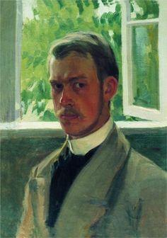 NEAR THE WINDOW, SELF PORTRAIT BORIS KUSTODIEV