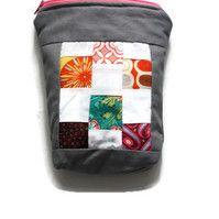Slate Essex Linen Zakka Style Handmade Zippered Pouch: Makeup Bag: Cosmetic Bag