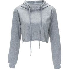 Gray Solid Color Drawstring Hooded Crop Sweatshirt ($12) ❤ liked on Polyvore featuring tops, hoodies, sweatshirts, shirts, sweaters, crop tops, grey, cropped hoodie, hooded sweatshirt and long sleeve crop top