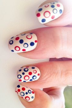 4th of July nails Simple: use the tip of any bobby pin for larger dots then go back in with a smaller tip for the retro dot look bring the second dot away from the center