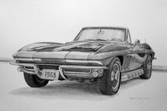 Cool Car Drawings, Cartoon Drawings, Drawing Sketches, Sketching, Car Drawing Pencil, Pencil Drawings, Viper Car, Foto Cars, 1965 Corvette