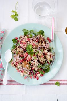 quinoa salad with eggplant, pomegranate and goat cheese, love!! www.foodandcook.net