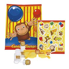 The Official PBS KIDS Shop | Curious George Party Favor Kit for 4 - Party Decorations - Party Supplies