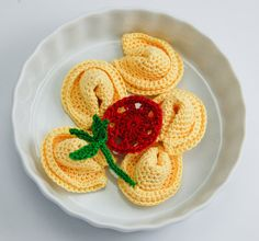 Tortellini crocheted food pasta plus tomato and basil