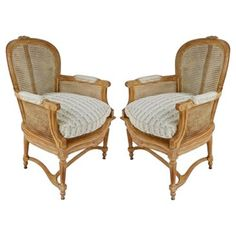 Check out this item at One Kings Lane! Classic French Caned Bergères, Pair