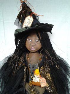 Primitive Black Folk Art WITCH DOLL ~ Original ~  48 INCHES~ Cloth Hand Painted…