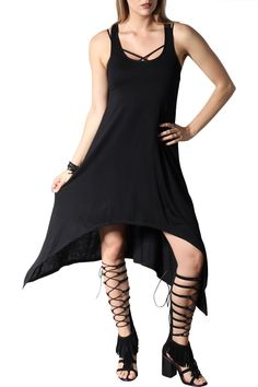 Black basic type dress with flowy bottom. Sides are little longer. High front, lower back. Perfect for every day. Dinner, brunch or night out in the city. Dress it up and down as you want.   Black Freedom Dress by Rock Etiquette. Clothing - Dresses - Casual California