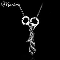 MQCHUN 50 Fifty Shades of Grey Charm Necklace With Tie Handcuffs Mask Silver Plated Pendant Darker Freed Christian Grey Necklace