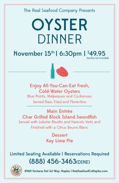 Join us for our annual Real Seafood Company Oyster Dinner Saturday, November Lobster Risotto, Seafood Company, Char Grill, Blue Point, Block Island, Naples, Oysters, November, Join