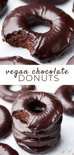 A chocolate lover's dream, these vegan chocolate donuts are baked instead of fried, and hard to resist! A chocolate lover's dream, these vegan chocolate donuts are baked instead of fried, and hard to resist! Vegan Dessert Recipes, Donut Recipes, Baking Recipes, Vegan Treats, Vegan Foods, Donuts Vegan, Baked Donuts, Nutella Vegan, Vegan Donut Recipe