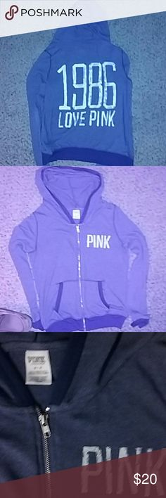 Victoria's Secret PINK jacket Gently used blue zip up jacket/sweater from Victoria's Secret PINK. In great condition no stains or wear down. Material 61 percent polyester 35 percent Viscose & 4 percent Elastane. The back of the jacket is shown in pic 1 and the rest of the pics show the front PINK Victoria's Secret Other