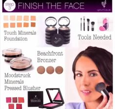 NEW! Younique's Steps to Beauty! Step 3 - Finish The Face! Younique's Touch Minerals Foundation, Beachfront Bronzer, and Moodstruck Minerals Pressed Blusher! Don't forget your tools - Younique's Blending Buds and Face Brushes will have you covered!
