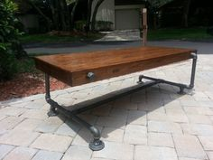 Industrial Iron Pipe Cedar Wood Coffee Table by NeutronFabrication