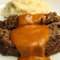 Meatloaf with Mushrooms and Chestnuts, Gravy and Celery Root Duchess Potatoes.