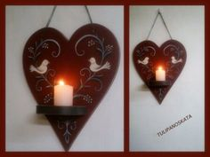 madaras szives mécses. Dont Break My Heart, My Heart Is Breaking, Candle Sconces, Painted Furniture, Folk, Wall Lights, Candles, Bird, Hungary