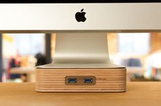 woodster - wooden Apple iMac and Thunderbolt Display stand with USB woodster stands for natural design combined with modern technology. Lift up your iMac or Thunderbolt Display with wood and Office Gadgets, Tech Gadgets, Cool Gadgets, Thunderbolt Display, Monitor Stand, Cool Tech, Technology Gadgets, Apple Products, Laptop Computers
