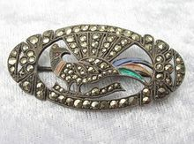 Art Deco Silver Marcasite Enamel Pheasant Bird Pin from Vintage Jewelry Girl! #vintagejewelry