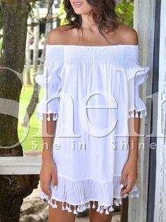 Beige+Off+The+Shoulder+Fringe+Shift+Dress+26.98