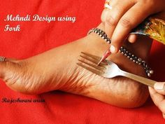 Easy Latest Feet Mehndi Design With The Help Of Kitchen Utensile Fork simple Shades Using Buds - YouTube