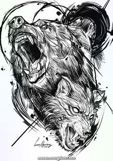 I really am into the colors and shades outlines and depth. This is certainly Wolf Tattoos Wolf Tattoos, Bear Tattoos, Animal Tattoos, Body Art Tattoos, Sleeve Tattoos, Tribal Bear Tattoo, Black Bear Tattoo, Sketch Style Tattoos, Tattoo Sketches