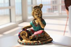 Baby Krishna Statue - Bal Gopal Brass Statue - Makhanchor Statue - Makhan Baby Krishna Brass Statue with turquoise and coral gemstones by LaveroArt on Etsy