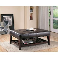 Contemporary Faux Leather Tufted Ottoman with Storage Shelf on www.bellacor.com $418