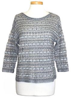 Lucky Brand Womens Sweater Metallic Pullover Open Knit Top Blue Sz S NEW NWT $99 #LuckyBrand #Crewneck