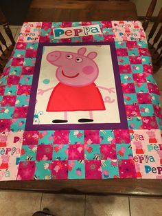 Peppa Pig for my granddaughter - all fabric came from Fabric.com - designed it myself and using peppa pig flannel for the backing. Fabric Panel Quilts, Children's Quilts, Fabric Panels, Baby Quilts, Quilting Ideas, Quilt Patterns, My Little Pony Bedding, Sewing Ideas, Sewing Projects