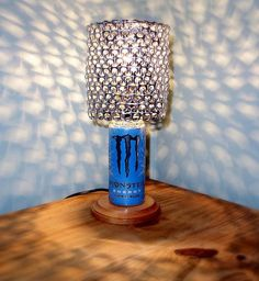 Monster Energy Ultra Blue Can Lamp with Pull Tab Lamp Shade by LicenseToCraft, $37.00