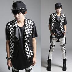 >> Click to Buy << mens punk vests 2016 Metrosexual new men Korean punk style vest plaid personality Man Costume leather vest #Affiliate
