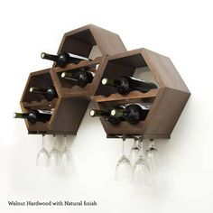 This listing is for a set of three (3) modern hexagon wine racks. These unique hexagon / Honeycomb wine racks are perfect for your wine storage needs - whether you want a stylish way to store a few bottles, or youre looking for an efficient way to keep your cellar collection organized.