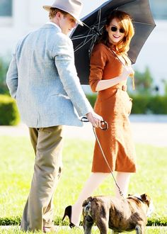 Ryan Gosling and Emma Stone on the set of The Gangster Squad.
