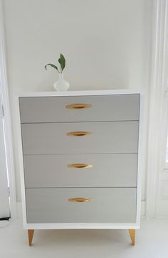 Sold#Lovely mid Century dresser, vintage dresser painted gray,white and gold, tallboy, painted furniture nj by merakihomedesign on Etsy https://www.etsy.com/listing/500588441/soldlovely-mid-century-dresser-vintage