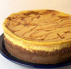 Swirled Caramel and Pumpkin Cheesecake Supreme - yummy Pumpkin Cheesecake Recipes, Brownie Recipes, Pumpkin Recipes, Dessert Recipes, Caramel Cheesecake, Pumpkin Cheescake, Dessert Ideas, Yummy Treats, Sweet Treats