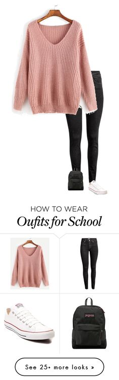 """My outfit for school today"" by babygirl1738-i on Polyvore featuring H&M, JanSport and Converse"