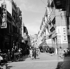 A downtown street in the Portuguese settlement of Macao, west of Hong Kong.
