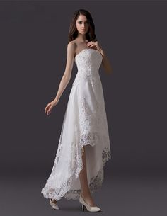 Classic Beading Rhinestone Embroidered Lace Tulle Short Beach Wedding Dress